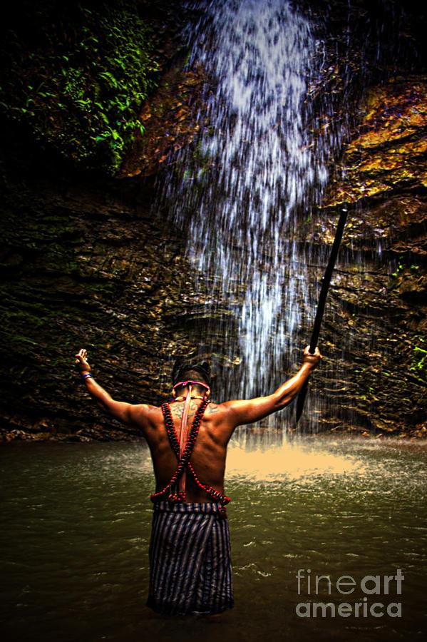 Amazon Photograph - Shuar Shaman At Sucua Ecuador by Al Bourassa