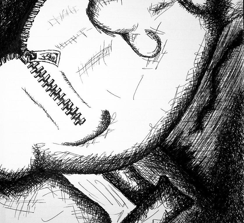 Shut Drawing - Shut Your Mouth by Jera Sky