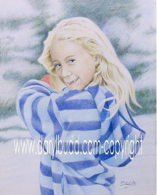 Girl Drawing - SHY by Daryl Budd