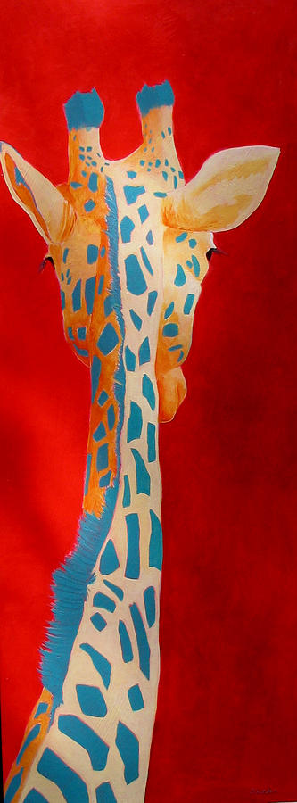 Giraffe Painting - Shy Giraffe by Scott Gordon