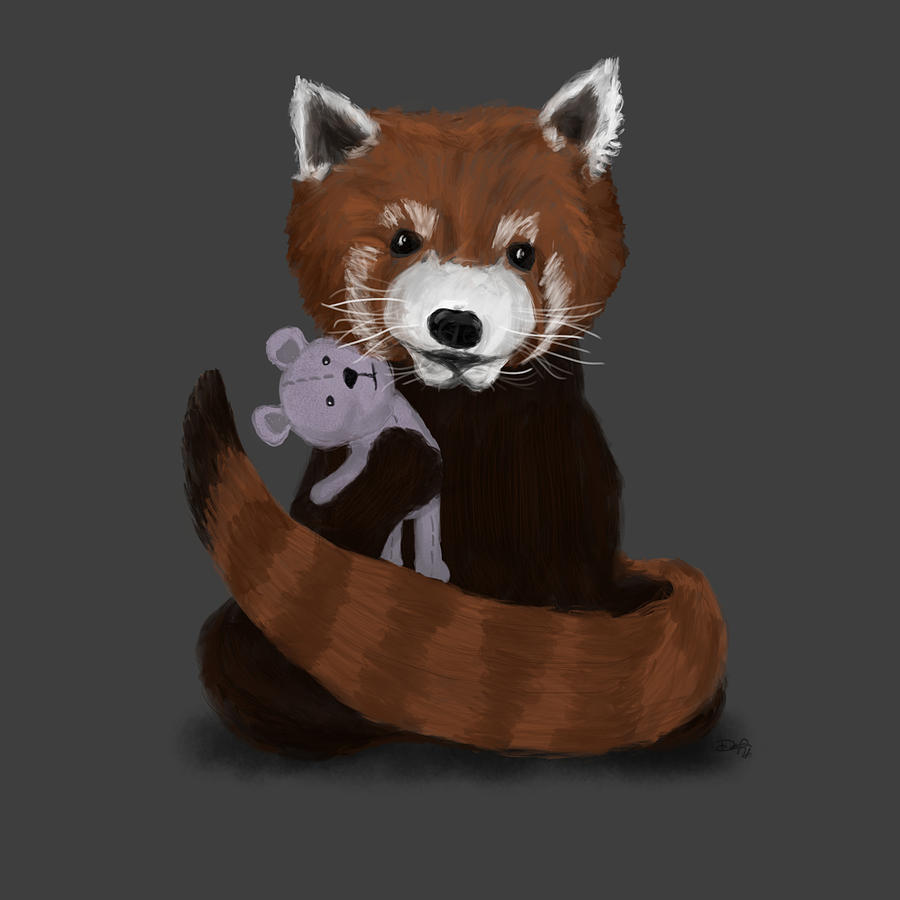 Red Panda Painting - Shy Red Panda by Dan Pearce