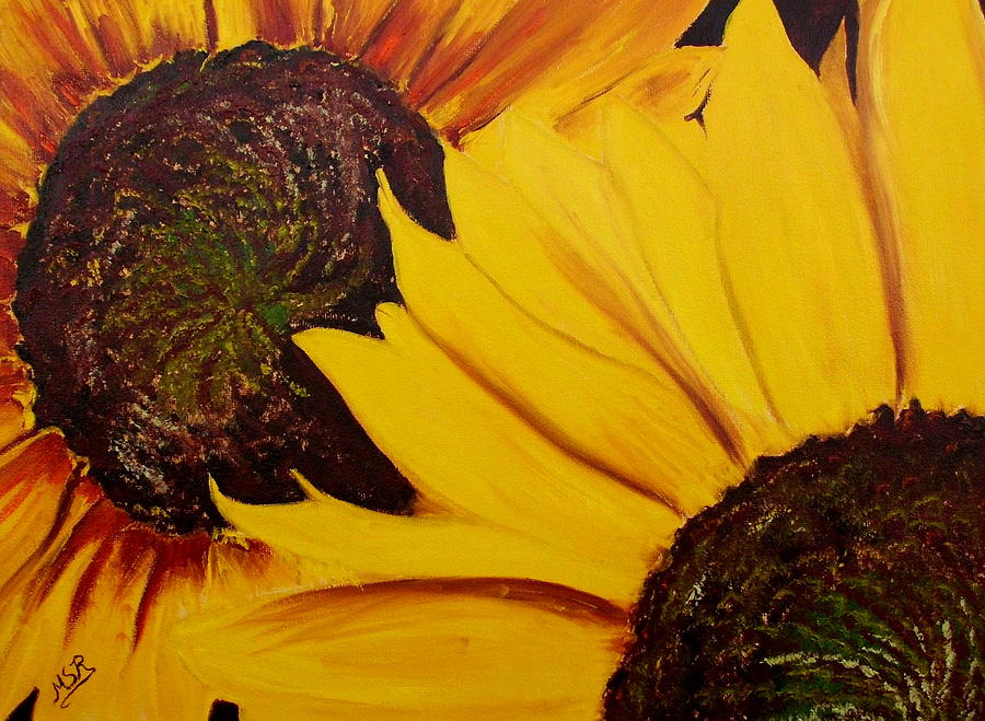 Sunflower Painting - Shy Sunflower  by Maria Soto Robbins