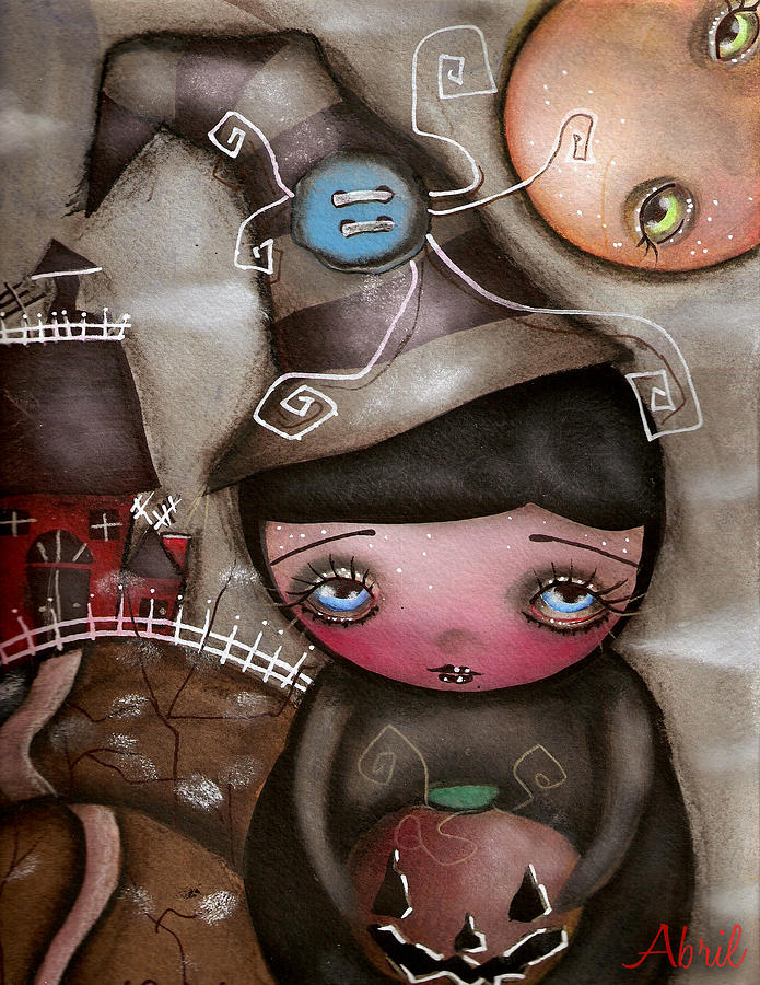 Abril Painting - Shy Witch by  Abril Andrade Griffith