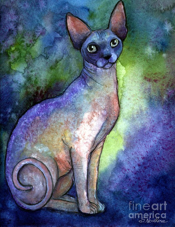 Sphynx Cat Art Painting - Shynx Cat 2 Painting by Svetlana Novikova
