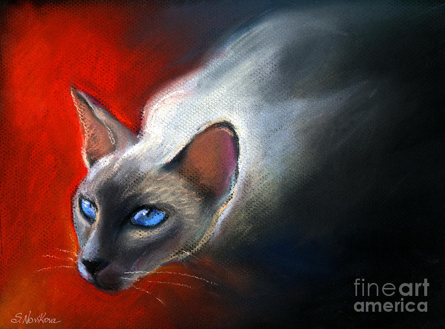 Animal Artwork Painting - Siamese Cat 7 Painting by Svetlana Novikova
