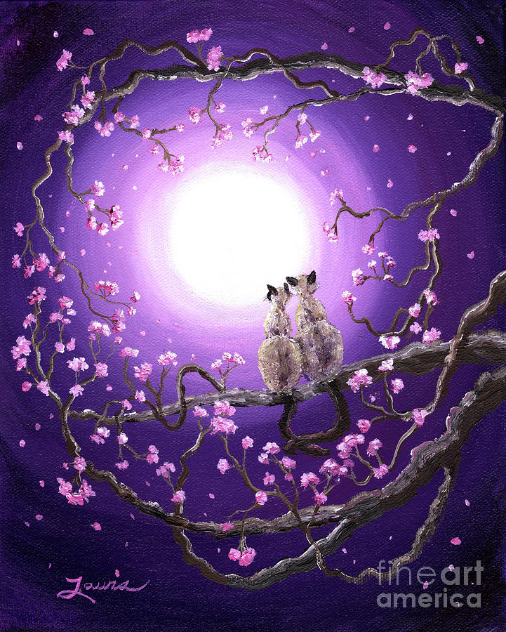 Cats Painting - Siamese Cats In Pink Blossoms by Laura Iverson