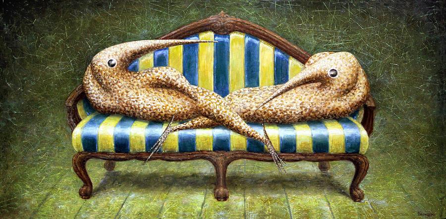 Sofa Painting - Siamese Twins by Lolita Bronzini