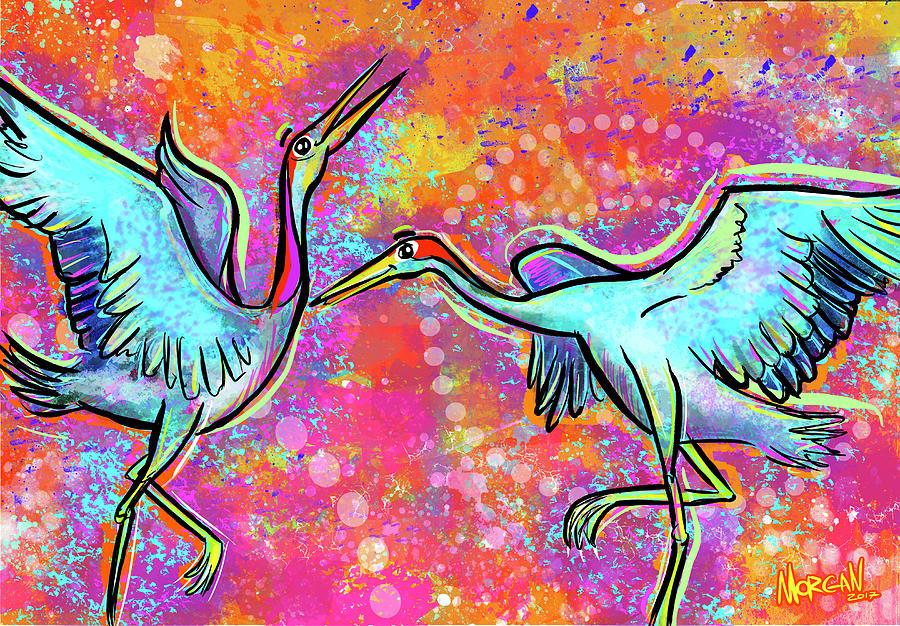 Elephant Digital Art - Siberian Cranes by Morgan Richardson