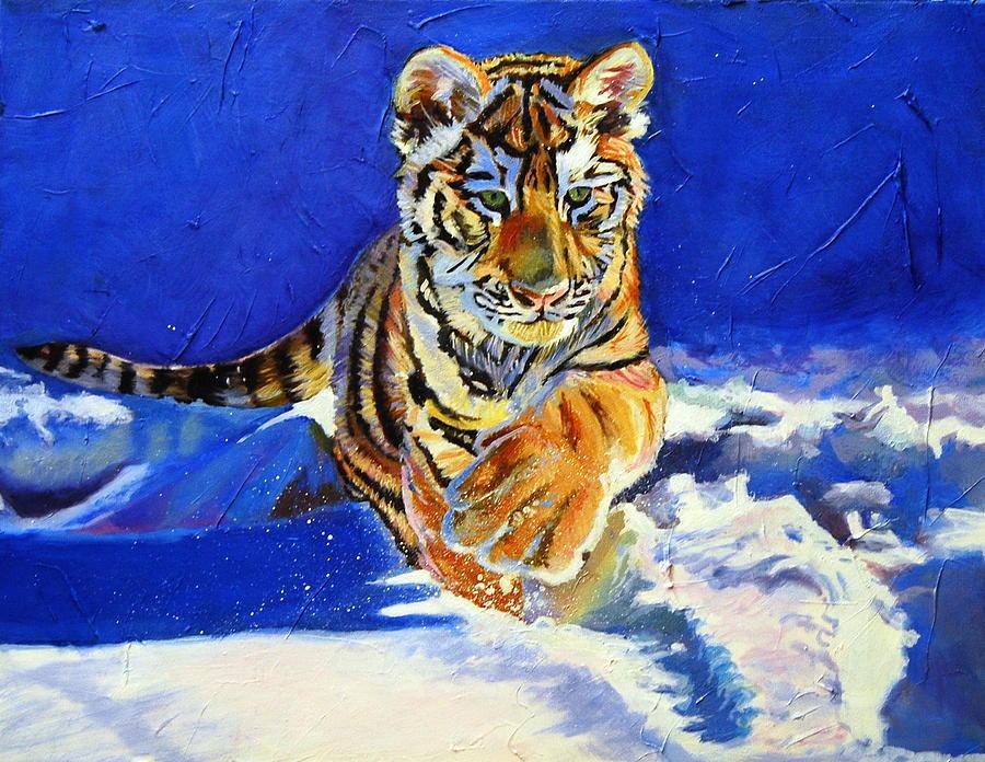 Siberian Tigers Painting - Siberian Tiger Cub by Christine King