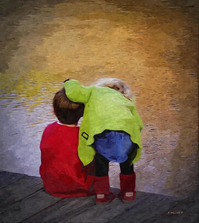 2d Digital Art - Sibling Love by Brian Wallace