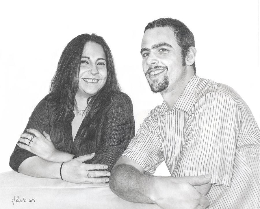 Portrait Drawing - Siblings 2 by Marlene Piccolin