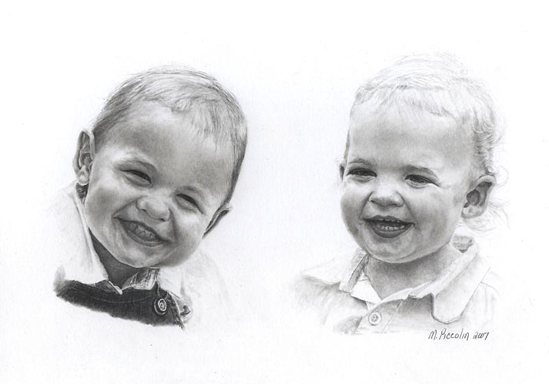 Portrait Drawing - Siblings by Marlene Piccolin