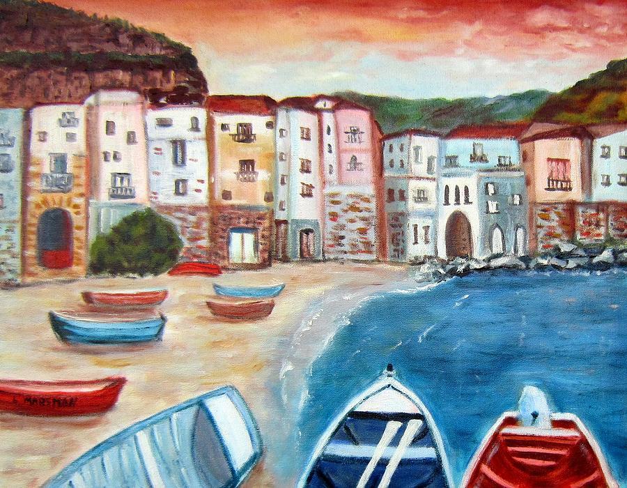 Landscape Painting - Sicilian Fishing Village by Lia  Marsman