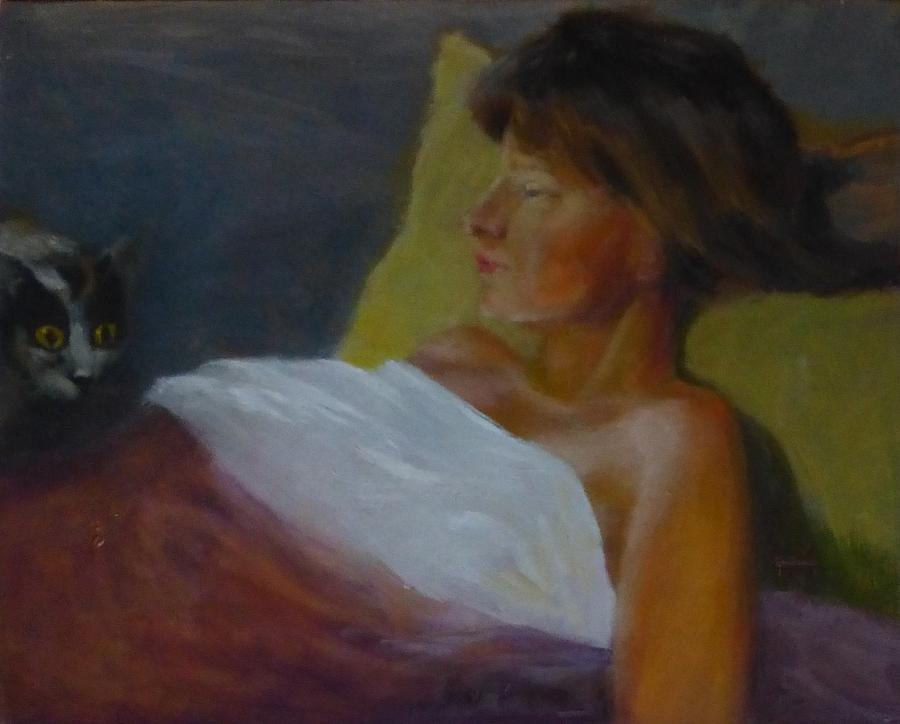 Girl Painting - Sick Girl And Her Cat by Irena Jablonski