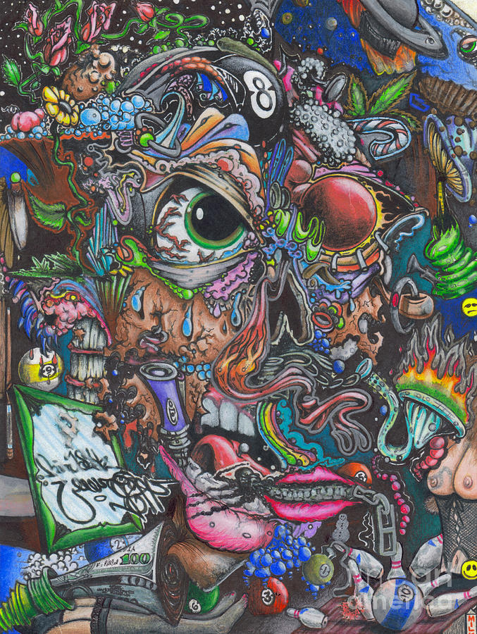 Colorful Drawing - Sick Reality by Brian Schuster
