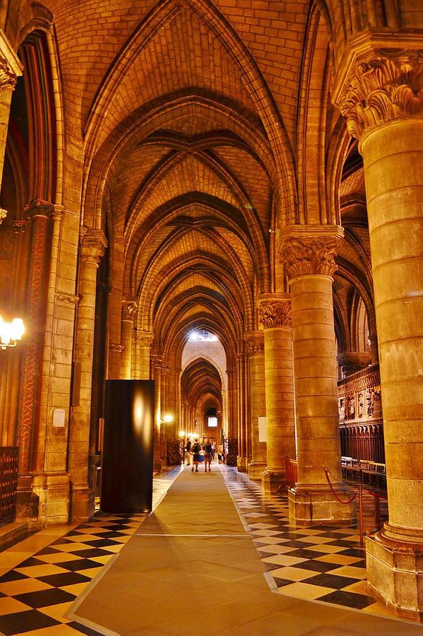 Side Hall Notre Dame Cathedral - Paris by Kim Bemis
