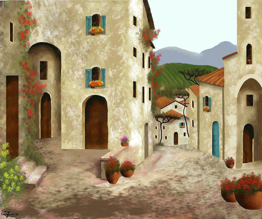 Tuscany Painting - side streets of Tuscany by Larry Cirigliano