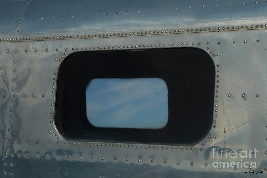 Airplane Photograph - Side Window Beechcraft Model 18-signed-#8604 by J L Woody Wooden