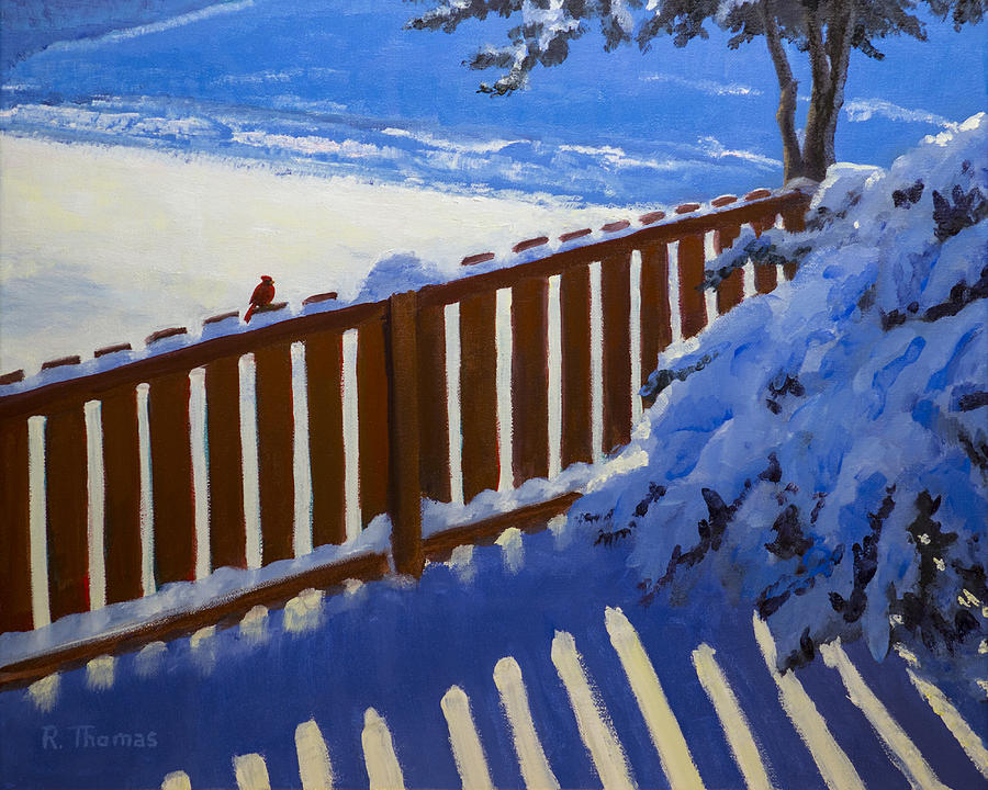 Landscape Painting - Side Yard Snow by Bob Thomas