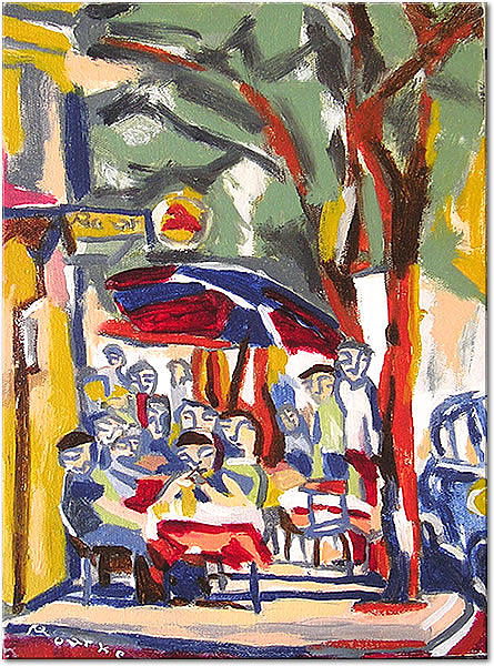 French Painting - Sidewalk Cafe At The Corner by Nancy Rourke