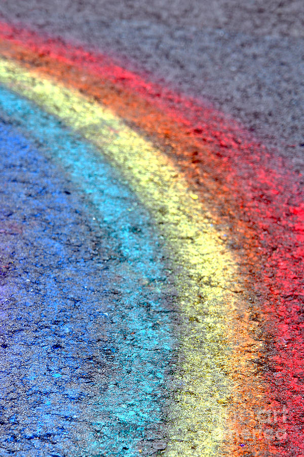 Chalk Photograph - Sidewalk Rainbow  by Olivier Le Queinec