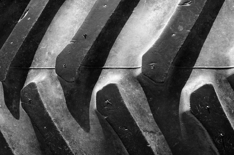 Tractor Photograph - Sideways Tractor Tread by Luke Moore