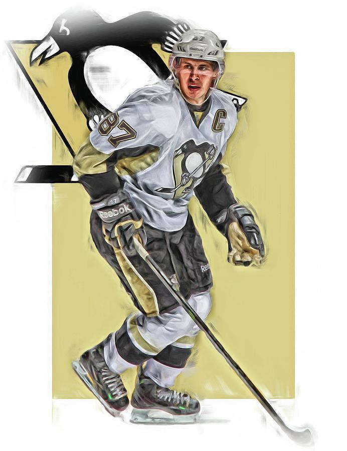 Sidney Crosby Mixed Media - Sidney Crosby Pittsburgh Penguins Oil Art by Joe Hamilton
