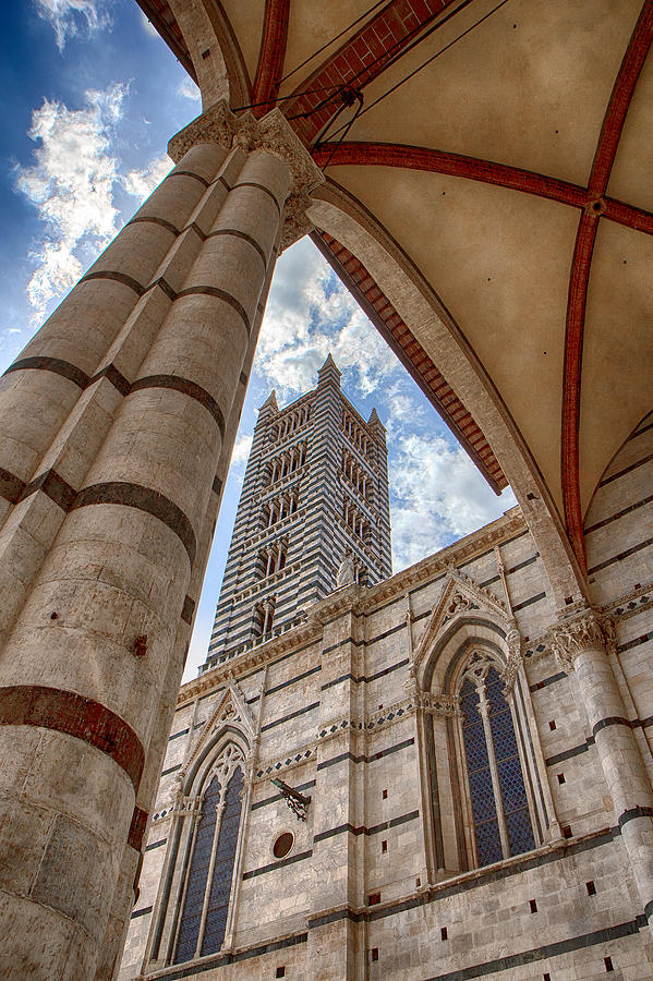 Italy Photograph - Siena Cathedral Tower Framed By Arch by Rick Starbuck