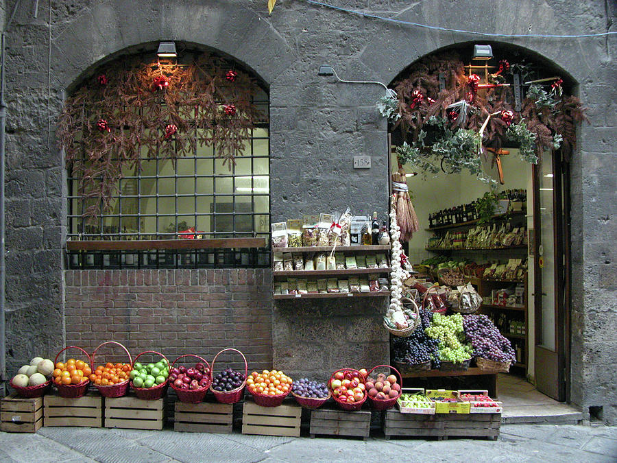 Siena Photograph - Siena Italy Fruit Shop by Mark Czerniec