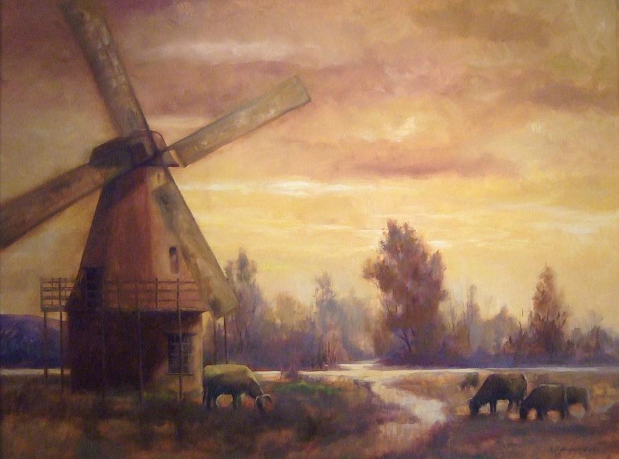 Windmill Painting - Sienna Mill by Ruth Stromswold
