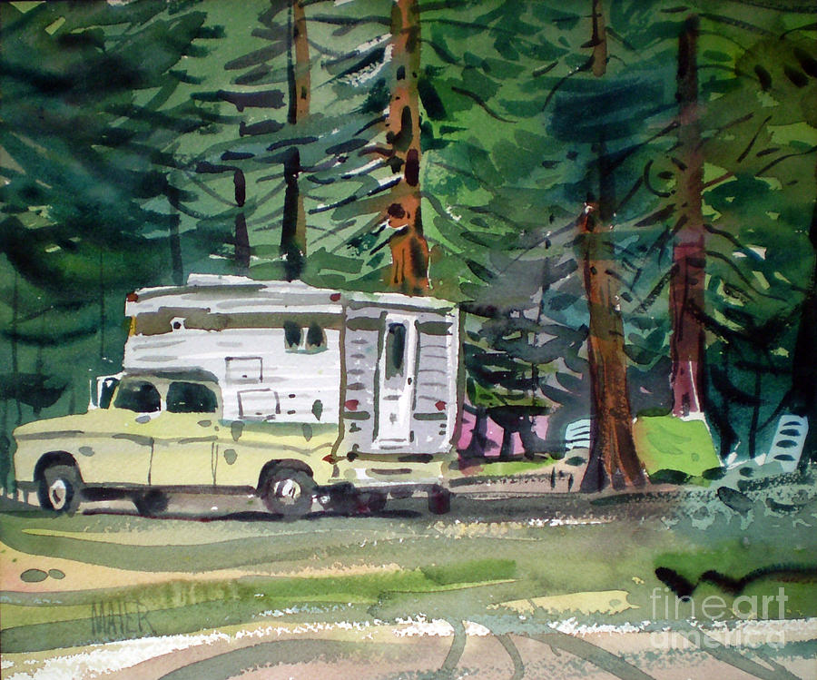 Camping Painting - Sierra Campsite by Donald Maier