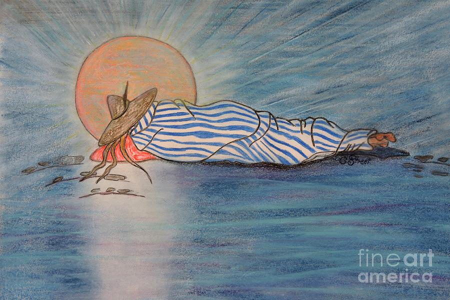 Siesta In Blue Drawing