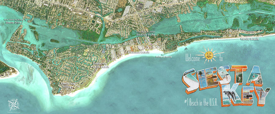 Siesta Key Aerial Wall Map by Shawn McLoughlin