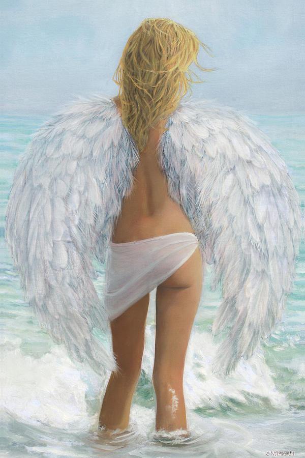 Oil Painting Painting - Siesta Key Beach Angel by Shawn McLoughlin