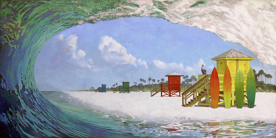 Acrylics Painting - Siesta Key Curl by Shawn McLoughlin