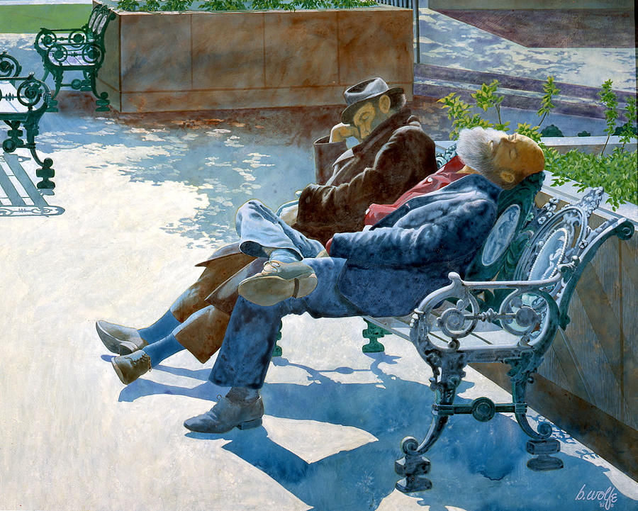Siesta Time In The Plaza Painting by Bassel Wolfe