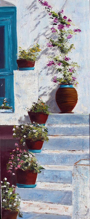 Landscape Painting - Sifnos Cyclades - Appolonia by Lesuisse Viviane