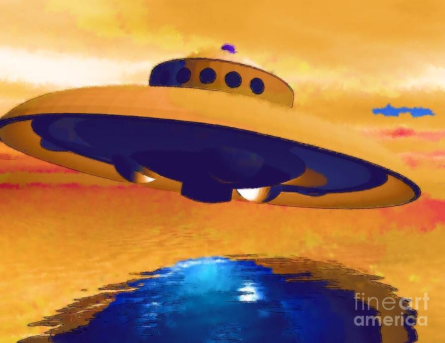Ufo Painting - Sighting by Deborah MacQuarrie-Selib