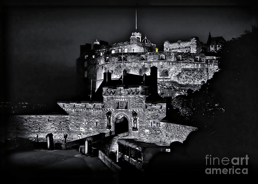 Sights Photograph - Sights In Scotland - Castle Bagpiper by Walt Foegelle