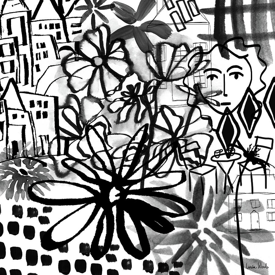 Black And White Mixed Media - Sightseeing 2- Art By Linda Woods by Linda Woods