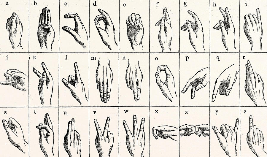 Sign Language Alphabet Painting by Unknown
