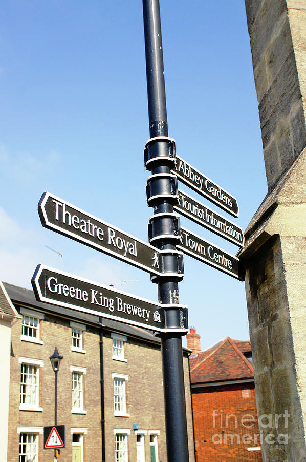 Abbey Photograph - Sign Posts In Bury St Edmunds by Tom Gowanlock