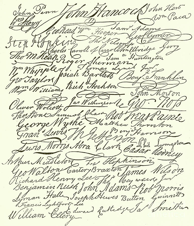 Declaration Of Independence Drawing - Signatures To The Declaration Of Independence by American School