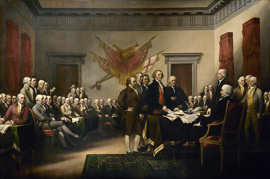 Declaration Of Independence Painting - Signing The Declaration Of Independence by War Is Hell Store