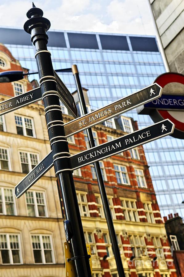 London Photograph - Signpost In London by Elena Elisseeva