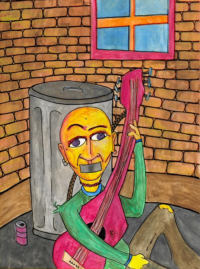 Guitar Painting - Silenced In The Corner by Jessica Kauffman