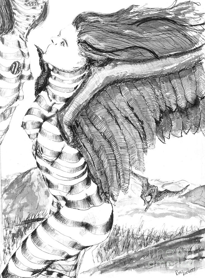Surreal Drawing - Silent Flight by Ron Bissett
