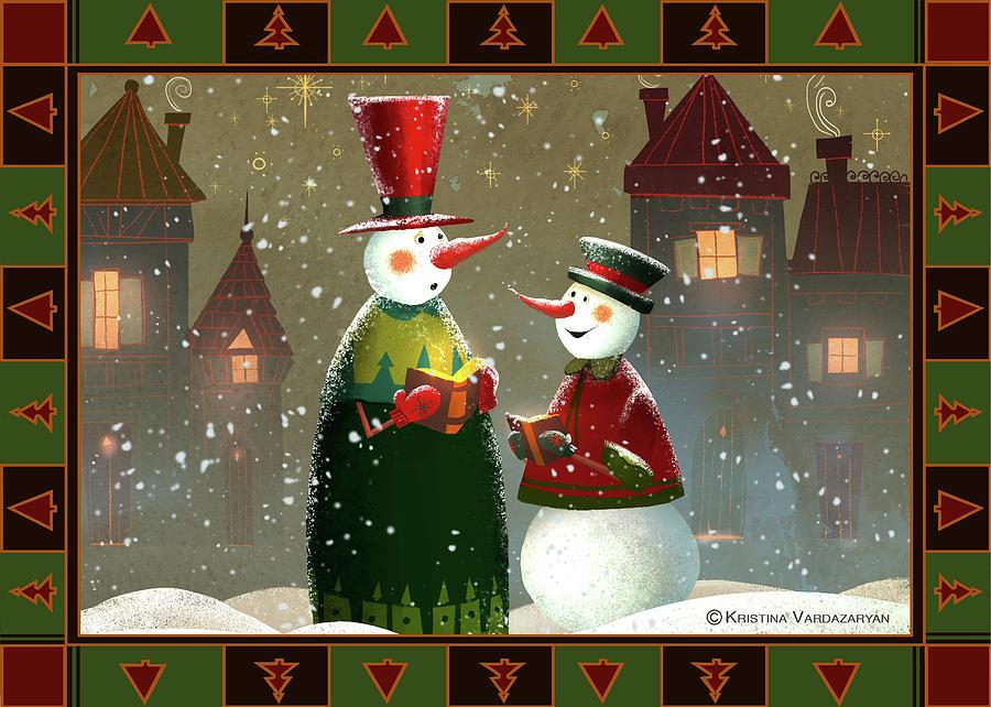 Snowman Painting - Silent Night by Kristina Vardazaryan