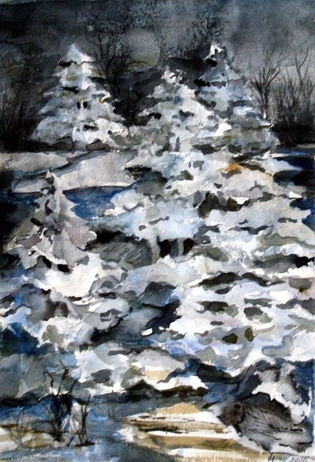 Snow Painting - Silent Night by Mindy Newman