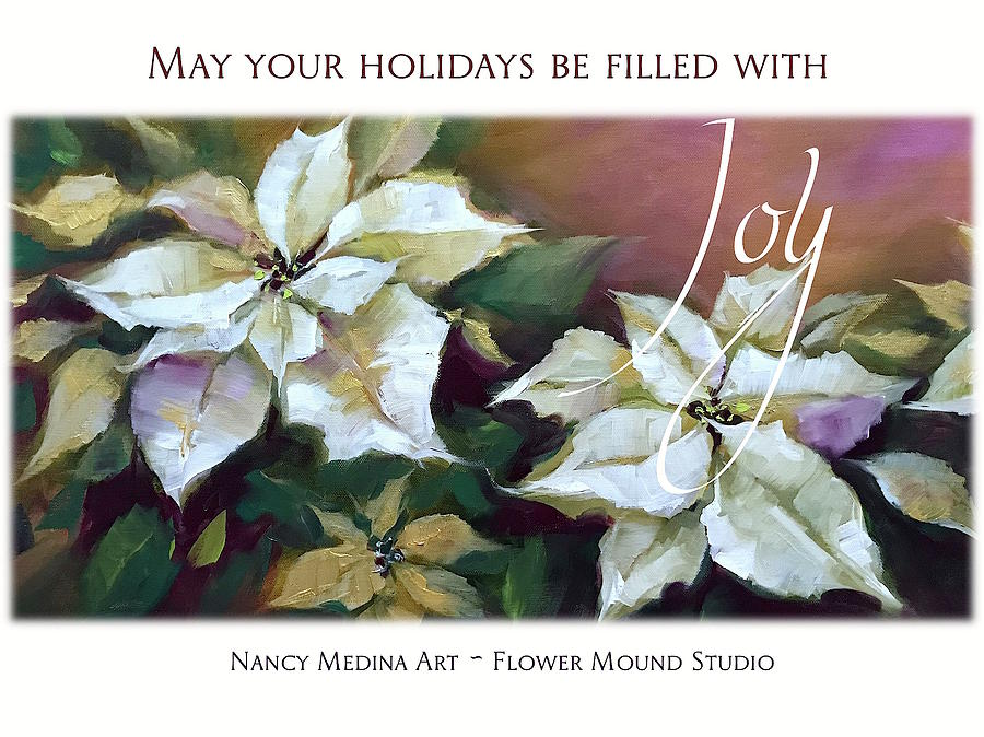 Silent Night Poinsettias Christmas Cards By Nancy Medina Art ...